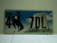 2009 Wyoming License Plate 4 7DL