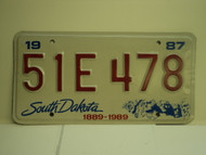 1987 SOUTH DAKOTA Centennial 1889 1989 License Plate 51E 478