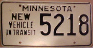 1980's Minnesota New Vehicle In Transit License Plate 5218