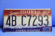 2005 IDAHO Scenic Famous Potatoes License Plate 4B C7293