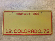 1975 Blank Colorado Highway Use License Plate