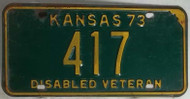 1973 417 Disabled Veteran Kansas License Plate