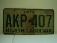 1974 NORTH CAROLINA License Plate AKP 407