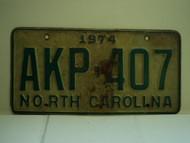1974 NORTH CAROLINA License Plate AKP 407