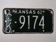 1962 KANSAS License Plate CK 9174