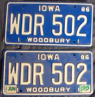 PAIR 1995 Jun Iowa WDR502 License Plate