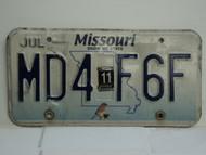 2011 MISSOURI Blue Bird License Plate MD4 F6F