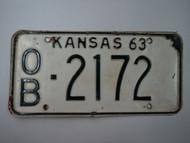 1963 KANSAS License Plate OB 2172
