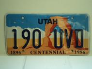 UTAH Centennial 1896 1996 License Plate 190 UVD