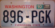 2003 Oct Washington 896-PGK Evergreen License Plate