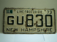 1973 1974 Sticker NEW HAMPHIRE Live free or Die License Plate GU 830