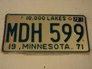 1971 1972 MINNESOTA 10,000 Lakes License Plate MDH 599