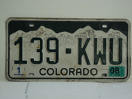 2008 COLORADO License Plate 139 KWU
