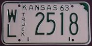 1963 WL Wilson Co Kansas Truck License Plate