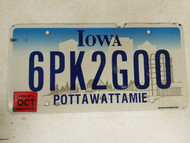 2015 Iowa Pottawattamie County License Plate 6PK2G00