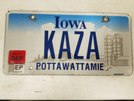 2015 Iowa Pottawattamie County License Plate KAZA