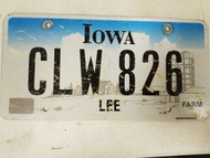 Iowa Lee County License Plate CLW 826