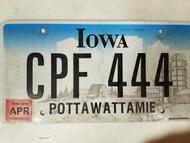 2015 Iowa Pottawattamie County License Plate CPF 444 Triple Four