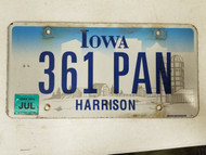 2014 Iowa Harrison County License Plate 361 PAN