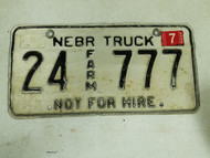 2005 Nebraska Cuming Truck Not For Hire License Plate 24 777 Triple Seven