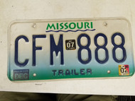 2007 Missouri Trailer License Plate CFM 888 Triple Eight