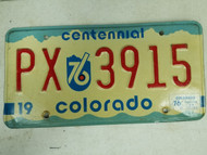 1976 Colorado Centennial License Plate PX 3915