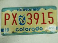 1976 Colorado Centennial License Plate PX 3915
