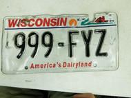 Wisconsin America's Dairyland License Plate 999-FYZ Triple Nine