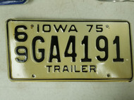 1975 Iowa Montgomery County Trailer License Plate 69 GA4191