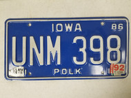 1986 Iowa Polk County License Plate UNM 398