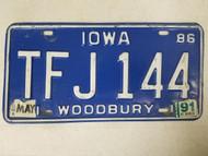 1986 Iowa Woodbury County License Plate TFJ 144