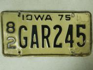 1975 Iowa Scott County License Plate 82 GAR245