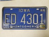 1986 Iowa Montgomery County License Plate ED 4301