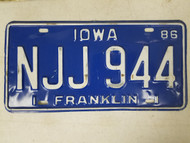 1986 Iowa Franklin County License Plate NJJ 944