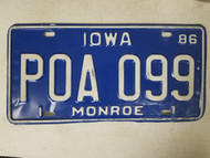1986 Iowa Monroe County License Plate POA 099