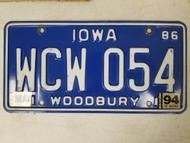 1986 Iowa Woodbury County License Plate WCW 054