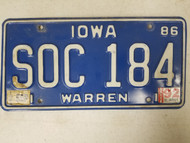 1986 Iowa Warren County License Plate SOC 184