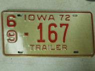 1972 Iowa Trailer Montgomery County License Plate 69-167