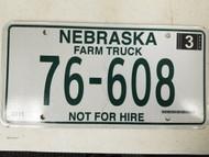 2011 Nebraska Farm Truck Not For Hire Dundy County License Plate 76-608