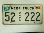 1999 Nebraska Kearney County Commercial Truck License Plate 52 222 Triple Two