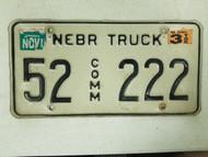 1999 Nebraska Kearney County Commercial Truck License Plate 52 222 Triple Two