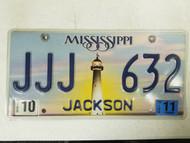 2011 Mississippi Jackson County License Plate JJJ 632 Triple J
