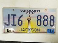 2011 Mississippi Jackson County License Plate JI6 888 Triple Eight