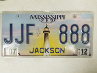 2012 Mississippi Jackson County License Plate JJF 888 Triple Eight