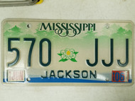 2006 Mississippi Jackson County License Plate 570 JJJ Triple J