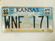 2009 Kansas Sedgwick County License Plate WNF 171