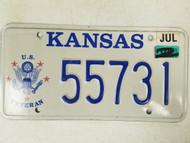 2008 Kansas US Veteran License Plate 55731