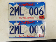 2011 South Dakota Great Faces. Great Places. License Plate 2ML 006 Pair