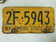 1962 New York Empire State License Plate 2F-5943