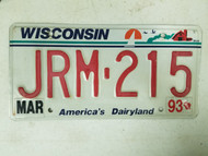 1993 Wisconsin America's Dairyland License Plate JRM-215